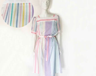 The Summers On The Shore Vintage 80s Dress Pastel Stripe Square Neck Belted Below Knee Length Dress