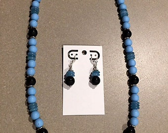 Blue and Black Necklace and Earring Set, Light Blue Necklace