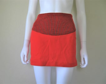 80s high waist ribbed knit Mini Skirt - xs