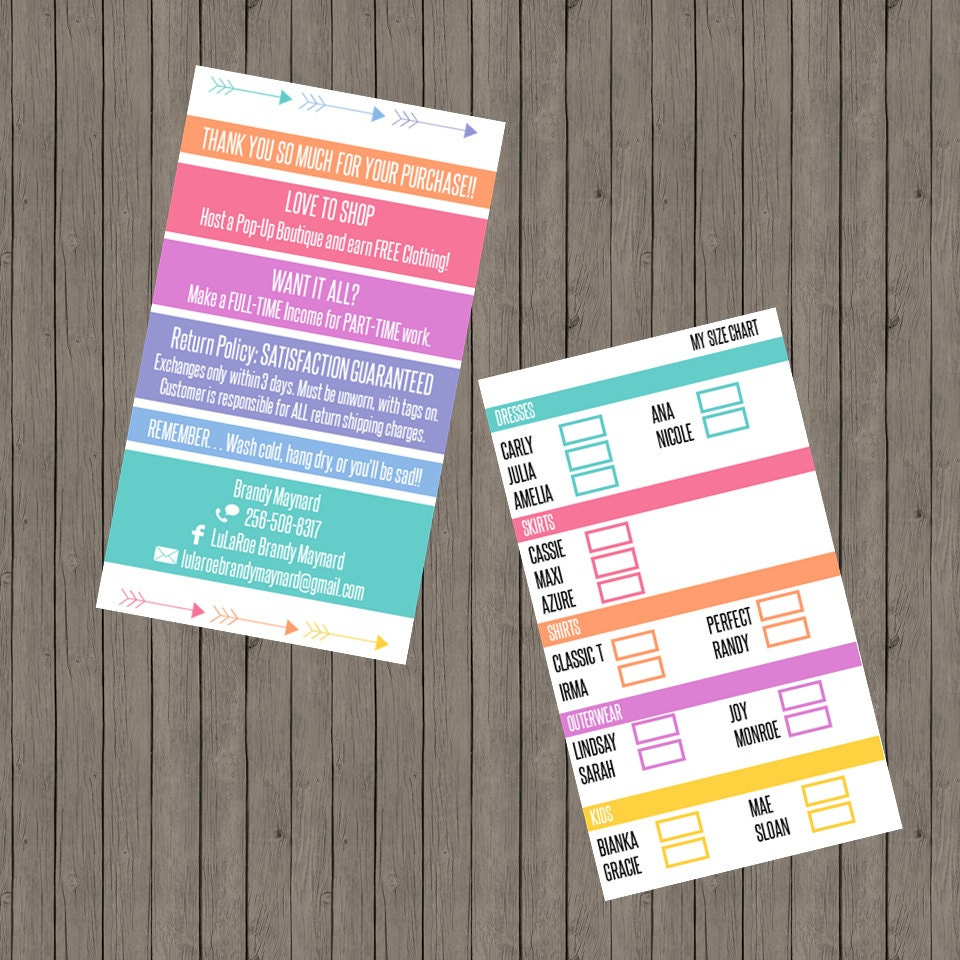 Lularoe business card size chart by thecraftyelephant7 on etsy for Etsy lularoe business cards