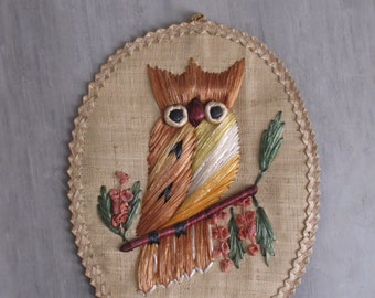 Vintage Owl Wall Hanging - Oval - Woven