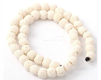 10mm Eggshell White Dyed Lava Volcanic Stone 16 Inch Strand for Jewellery Making and Essential Oil Jewellery 34 Beads