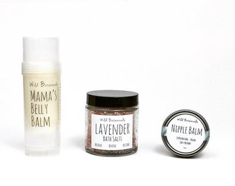 Pregnant Mama Gift Set, Mother's Day Gift, First Time Mama, Nipple Butter, Bath Salts, Belly Balm, Pregnancy Gift Set