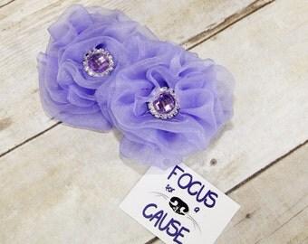 One, Fabric Flower Dog Collar Accessory, Dog Collar Flower, Harness Flower by Focus for a Cause, Lavender w/Rhinestone