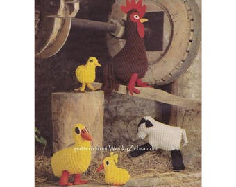 Toy farm animals lamb chick duck cockerel easter chick Vintage Knitting Pattern PDF 1005 from WonkyZebra