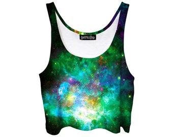 Green Space Crop Top - Galactic Star Shirt - Summer Festi Show Clothing - Pastel Goth Belly Tank