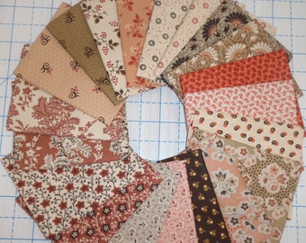 20 Civil War Pink and Brown Reproduction Quilt Fabric Fat Quarter Bundle Free Ship