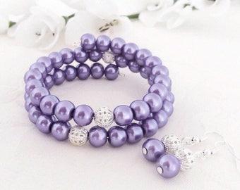 Mauve Bracelet, Mauve Jewelry, Mauve Bridesmaids, Wedding, Pearl Jewelry, Pearl Bracelet, Bridesmaid Gift