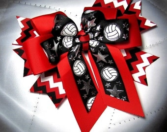Volleyball Bow -  Red, White & Black Chevron Spikes with Red Bow topped with a  Bow of  White and Silver Metallic Volleyballs on Black
