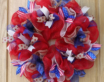 4th of July Wreath, patriotic wreath, memorial day wreath, patriotic decor, seasonal wreath, hand made wreath, deco mesh wreath,  home decor