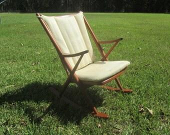 Danish Modern Rocking Chair, Teak Wood Rocking Chair, MCM Furniture, Wood Chair,
