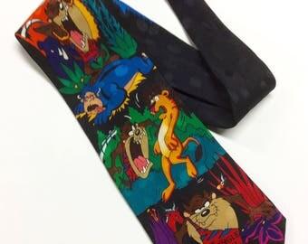 Looney Tunes Mania Necktie Vintage Tasmanian Devil Tie Novelty Necktie 100% Silk Tie w Jacquard Jungle Devil Black Silk Necktie Taz Tie