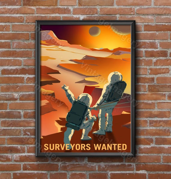 Surveyors Wanted Explore Mars 2016 NASA/JPL Space Travel Poster nasa mars poster Great Gift idea for Surveyor Office man cave Wall Art Decor
