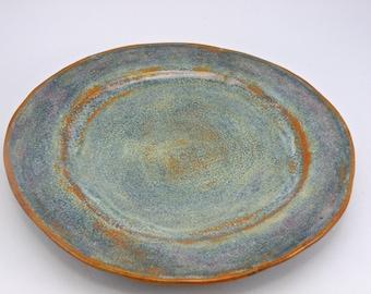 Large Handmade plate STONEWARE clay  High Fire Glaze