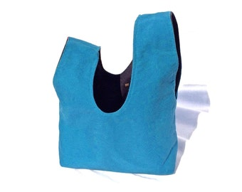 Midnight and Cerulean Blue Beautiful Wrist Bag, Reversible Knot Bag, Stylish Bento Bag