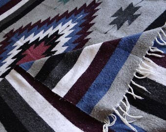 VTG Woven Mexican Blanket Navajo Saltillo Sarape