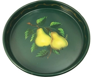 Vintage Tole Painted Metal Tray - Round Green Metal Tray - Hand Painted Pears - Hand Painted Tole Painted Tray