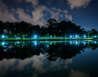 The Lincoln Memorial Reflecting Pool at night, in Washington, DC. | Photo Print, Stretched Canvas, or Metal Print.
