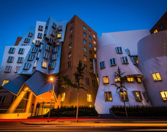 Stata Center at night, Massachusetts Institute of Technology, in Cambridge, Massachusetts. | Photo Print, Stretched Canvas, or Metal Print.