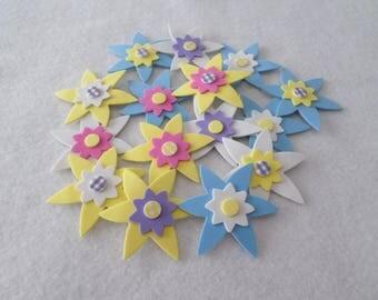 "15 Assorted 3-D foam flower stickers, 2 1/4"", for embellishing, kids crafts"