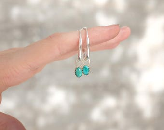 Small Silver Hoop Earrings with Dangly Turquoise Stones