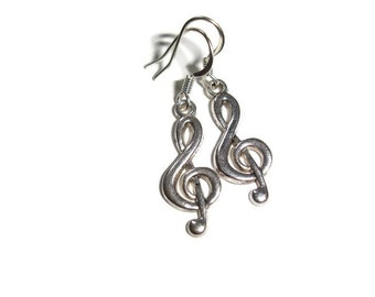 G clef Earrings Silver G clef Earrings Music Lover Earrings Musician Earrings Music Lover Gift for musician musical earrings hypoallergenic