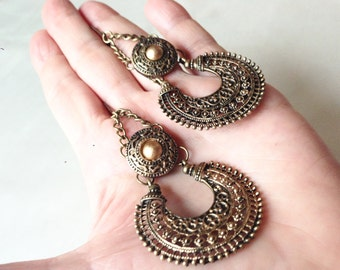 Helen of Troy Antique Brass Filigree and Matte Gold Cabochons Handmade Hoops,OOAK,Bohemian Earrings, Tribal Hoops, Ethnic Earrings,Statement