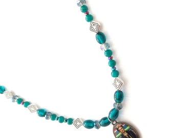 Frida Kahlo necklace, Frida Kahlo teal beaded necklace