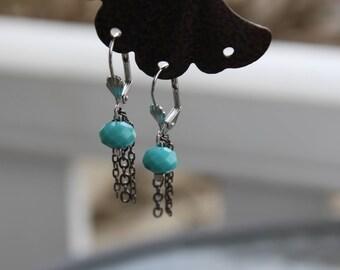 Earrings dangling blue hypoallergenic
