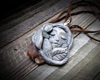 Natural Stone Clay~Aquamarine~Fire Agate GODDESS Pendant~Necklace~Watercolor~ HANDMADE~ Nature Spirit Design~Goddess Necklace~ Mdogstudios
