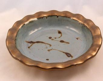 Stoneware Blue Pie Plate with Brass Rim, Pottery Baking Pie Plate, Quiche Baking Dish