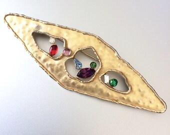 80s JJ Jonette Brutalist Meets Modernist Jeweled Brooch | Large Brushed Gold Pin
