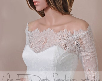 Off-Shoulder  /ivory/ wedding bolero/chantilly lace style /bridal shrug /jacket 3/4  sleeve