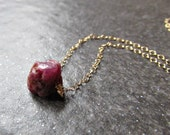 Raw Ruby Necklace in Sterling Silver, 14K Yellow Gold Filled or Rose Gold Filled- July Birthstone Jewelry - Girlfriend Gift for Wife