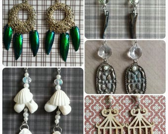 Earrings Handmade Natural Shell Beetle Wing MotherofPearl Wood with Crystals YOU PICK!