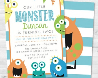 Our Little Monster Kids Birthday Invitation