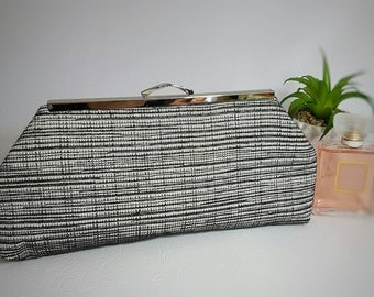 Black  and white clutch bag , grey clutch bag, evening bag, clutch purse, wedding bag, evening clutch bag, handbag, bags and purses,