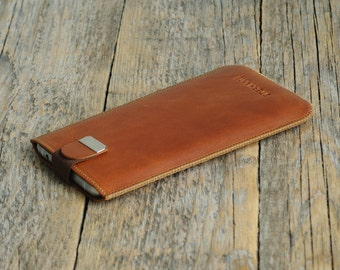 Brown Leather Case with Magnetic Flap for BlackBerry KEYone DTEK50 DTEK60 Leap. Genuine Leather Sleeve. Handmade Pouch.