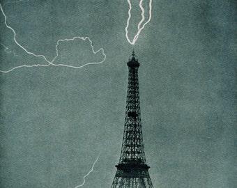 Lightning strikes the Eiffel Tower, Paris, France