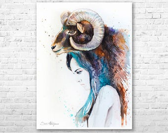 Mouflon Girl watercolor painting print by Slaveika Aladjova, Fashion Illustration, Woman art, Illustration, watercolour, wall art, ram