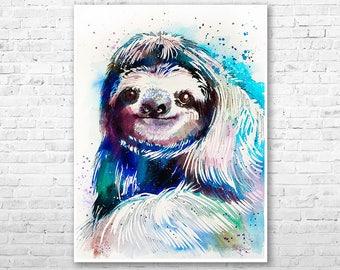 Sloth watercolor painting print by Slaveika Aladjova, animal art, illustration,wall art, home decor, wildlife, gift, Giclee Printt