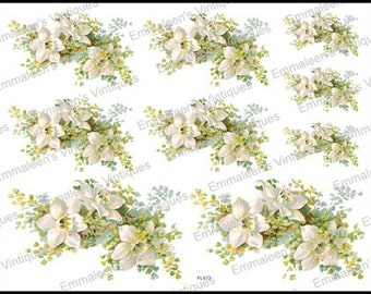 Vintage Image Victorian White Flowers Floral Swag Shabby Waterslide Decal~ FL472