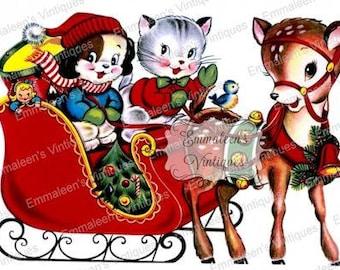 Vintage Shabby Retro Santa's Sleigh and Reindeer Christmas Digital Download — Printable Ephemera