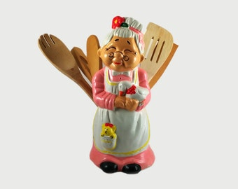 SALE! Vintage Ceramic Grandma Spoon Holder/Utensil Holder - Old Woman Spoon Holder