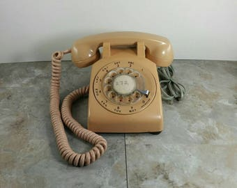 Vintage Cream/Tan/Beige Rotary Telephone - Retro Office Phone - Rotary Dial with Cord - Ready to Use!