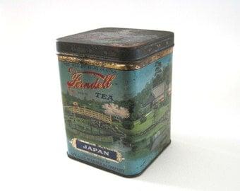 Vintage Antique Ferndell Tea Tin Japan, Sprague Warner, 8 oz. Tea Tin Box, Great Graphics!