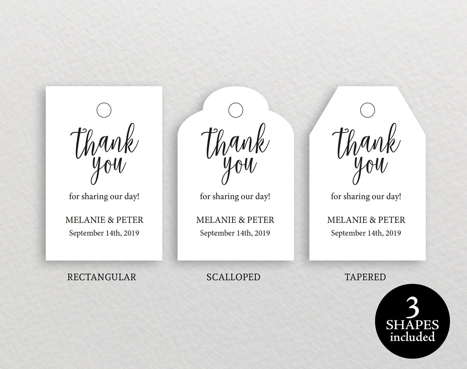 Thank You Tag Template, Wedding Thank You Tag, Rustic Favor Tag ...