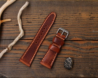 Watch Strap, Handmade Leather Watch Strap 20, 22, 24, 26, 28mm. , Leather Watch Band, Genuine Italian leather premium.