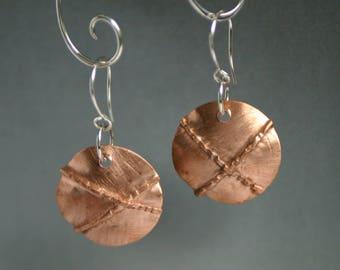 Fold Formed Hammered Copper Earrings - Organic Style Artisan Made Dangles - Metal Work Earrings