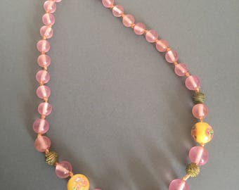 Art Deco Glass Bead Necklace Floral Spring Summer Pink Yellow
